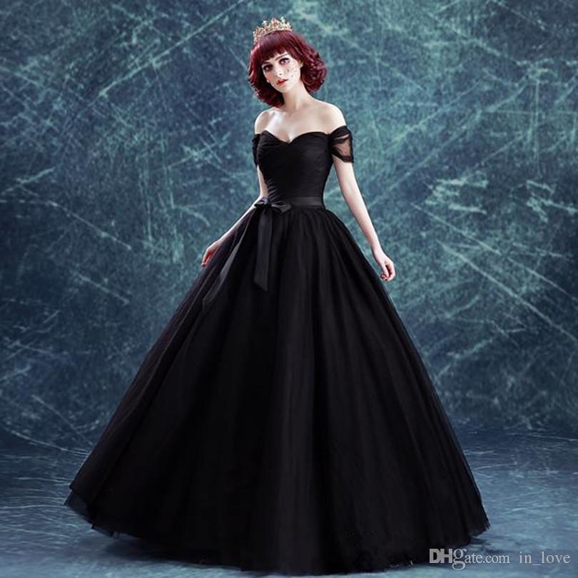 Gothic Style Schwarz Brautkleider Ballkleid Schulterfrei Kurzarm Schärpe Tüll Brautkleider Vestido De Noiva Custom