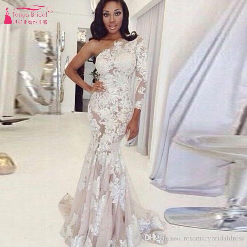 One Shoulder Long Prom Dresses White Lace Mermaid Evening Dresses ...