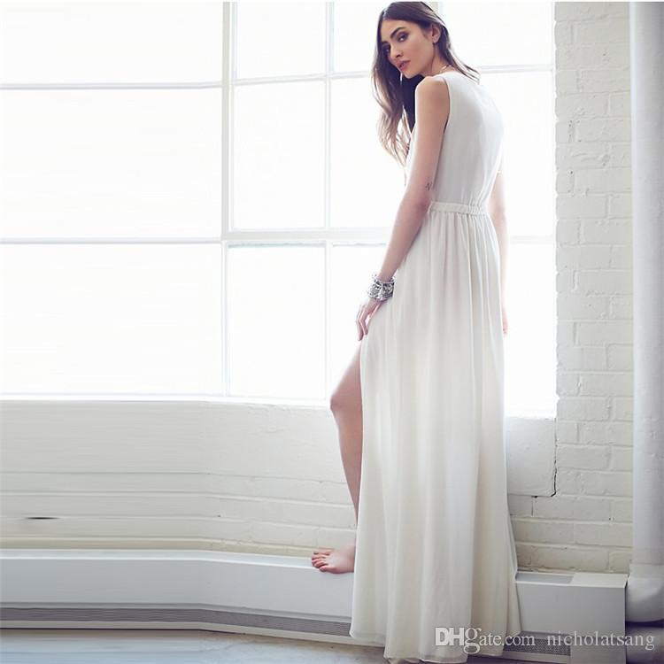 2016 nuevo verano plisado piso longitud Club vestidos de Europa y los Estados Unidos Deep V Split falda larga vestido blanco gasa sin mangas