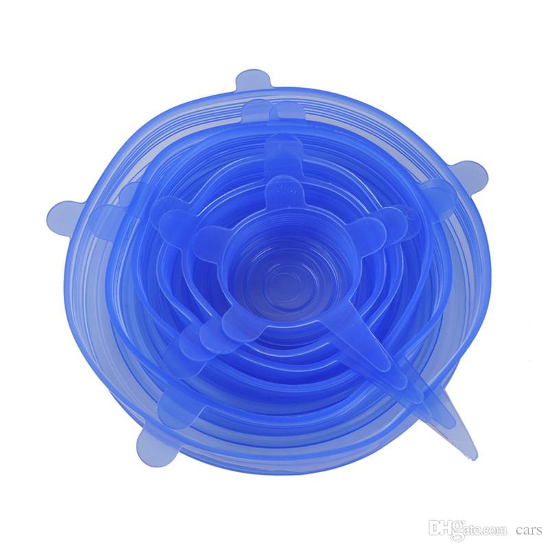 DHL NEW Universal Silicone Stretch Suction Pot Lids 100% Food-grade Environmental Protection Cooking Pan Spill Lids Bowl Stopper Cover