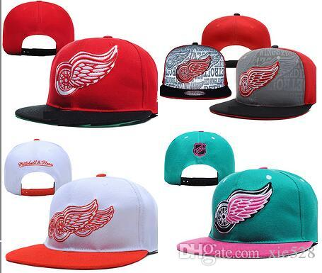 9f5222d58b4 Wholesale Men S Red Bone Snapback Hats Team Logo Embroidery Sports  Adjustable Ice Hockey Caps Hip Hop Flat Visor Detroid Hat Flat Brim Hats  Baby Cap From ...