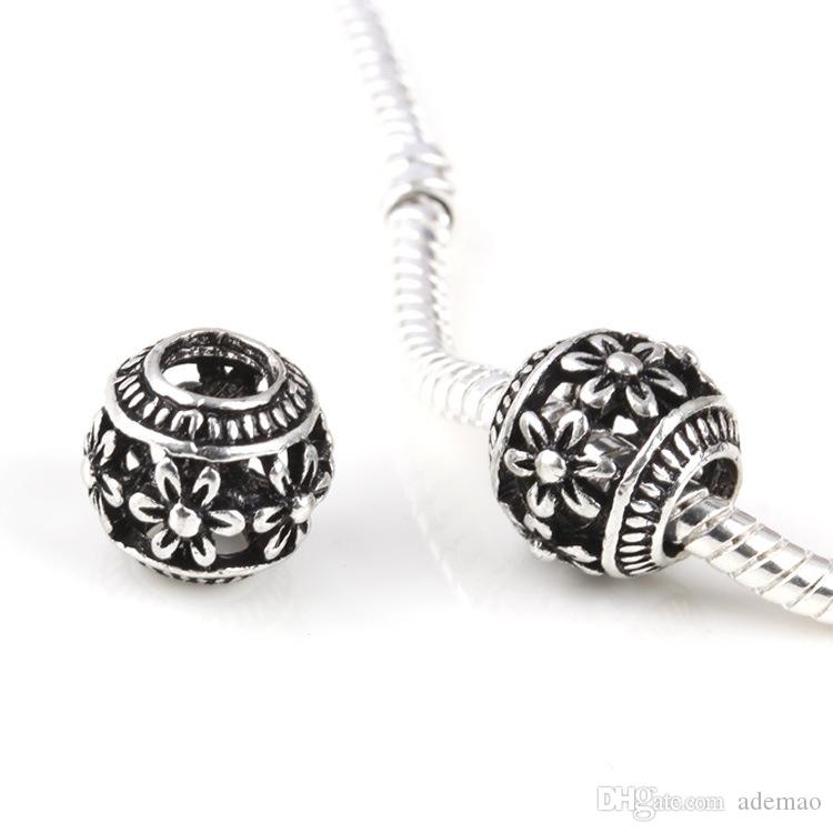 Wholesale 2017 Mix 30 Style Big Hole Loose Beads charm For Pandora DIY Jewelry Bracelet For European Bracelet&Necklace