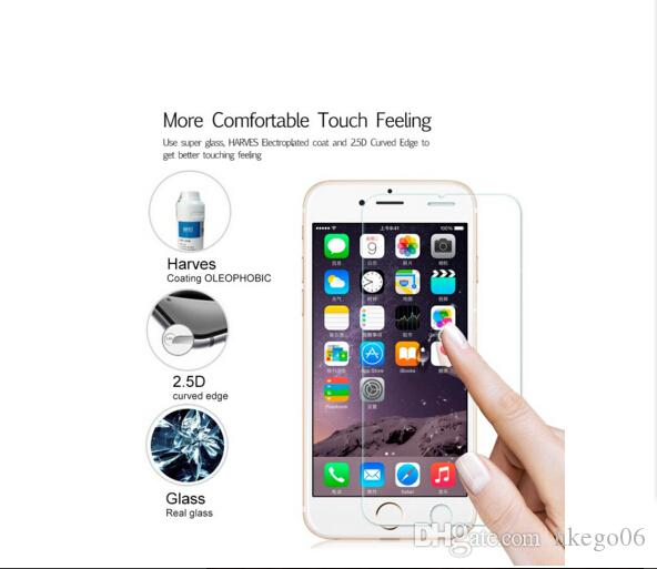 2.5D 9H 0.3mm Screen Protector for iPhone 7 4S 5c 5s SE 6 6s plus Tempered Glass Film for iPhone 6 7 6plus Case Cover Glass