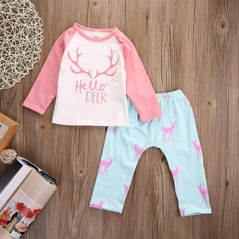 hot sale girls suits 2016 Newborn Kids Baby Girl hello Deer long sleeve tshirt tops+pants child set pink+sky blue Clothes Outfits Set