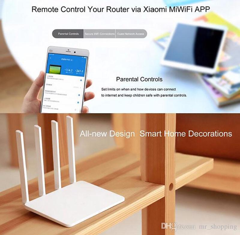 Original Xiaomi Router 3 Mini Mi Roteador Wi-fi 4 Antena Roteador Dual Band 2.4G / 5G 867 Mbps USB Com Controle APP Smartphone