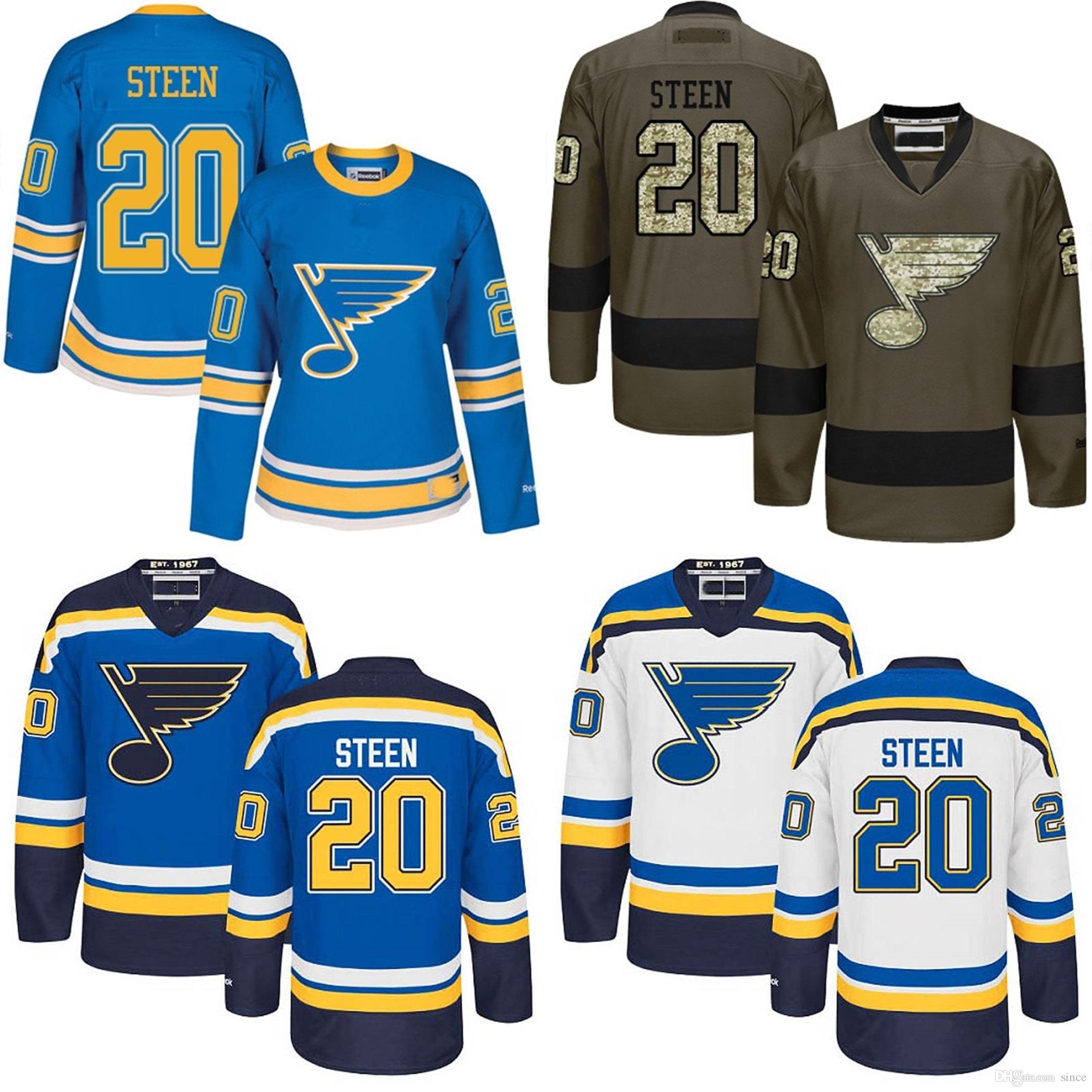 more photos b0ace d1f14 2016 New Mens 20 Alexander Steen Jersey White Blue Grey 100% Stitched  St.Louis Blues Steen High quality Ice Hockey Jerseys Shirt