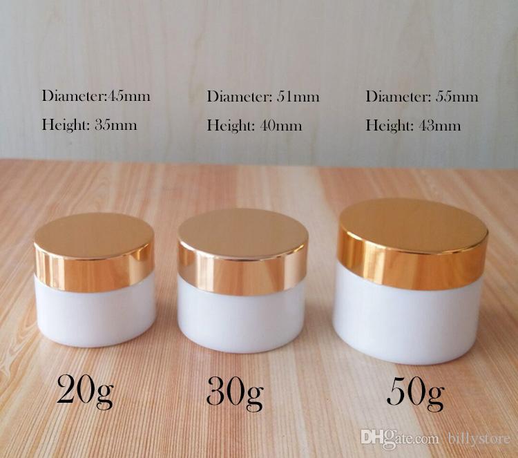 20г 30г 50г Белая стеклянная кремовая банка - пустой контейнер для косметических проб, дорожная многоразовая упаковка для упаковки проб для макияжа