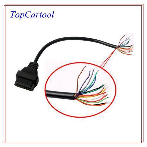 Topcartool OBDDIY Kadın OBDII 16pin sonlandırmak için açık konnektör kablosu 16pin OBD2 açmak için kablo kadın 0bd2 16pin açık uçlu kablo