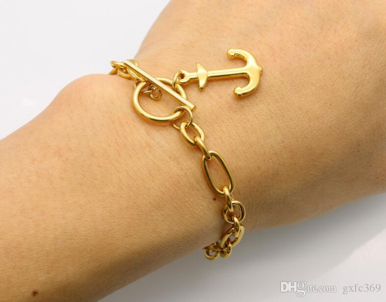 Titanium steel 18K gold boat anchor bracelet fashion European and American jewelry personalized stainless steel boat hook