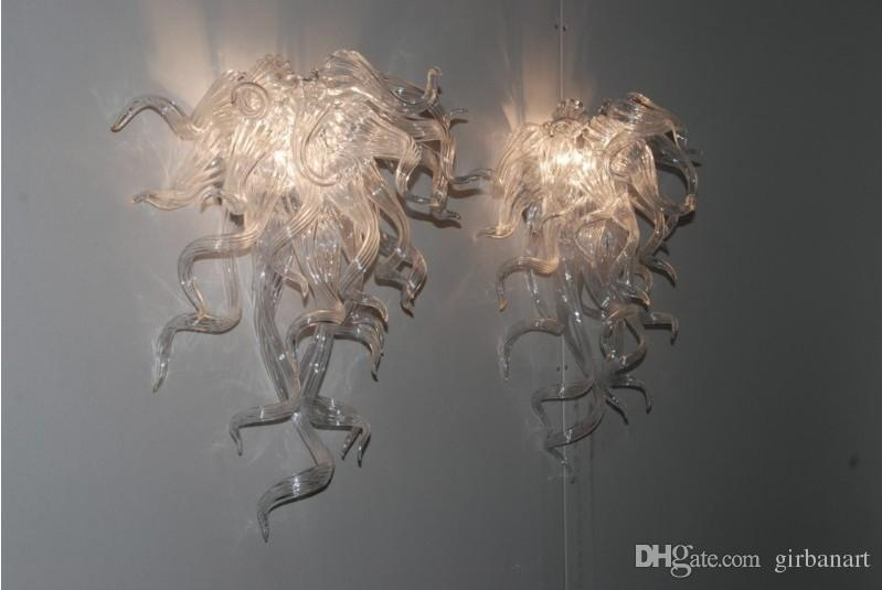 Hot Sale White Glass Crystal Wall Lamps Art Decoration Cheap Price Style Hand Blown Glass Wall Sconce