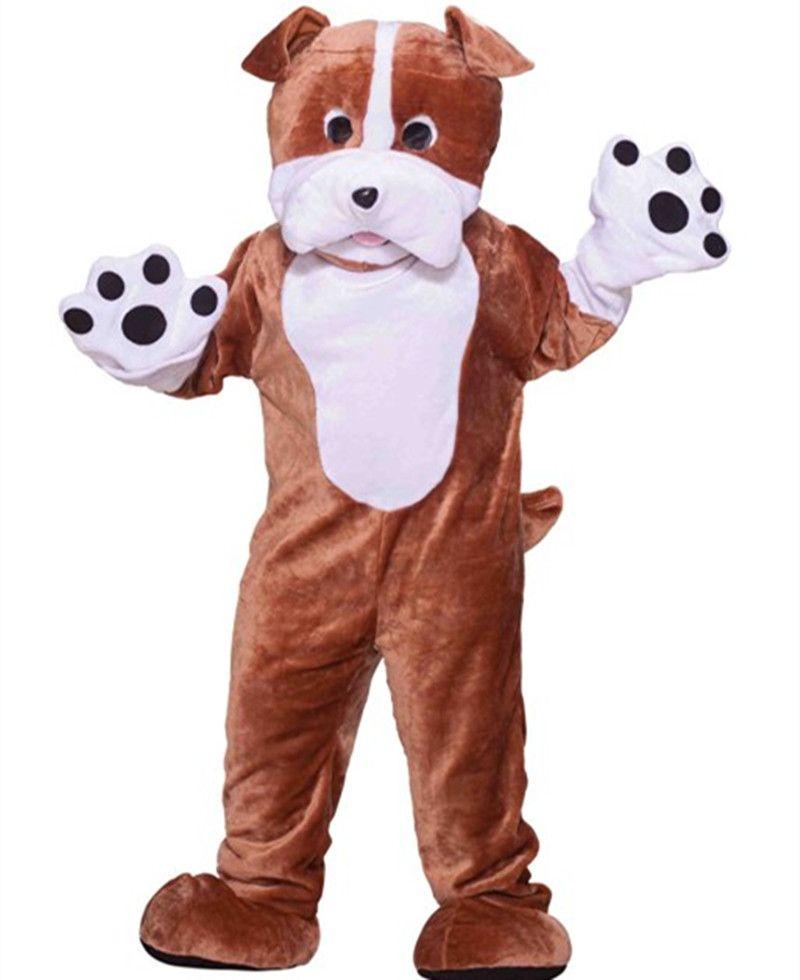 Novo estilo bulldog traje da mascote tamanho adulto adorável cão dos desenhos animados traje de festa vestido de venda direta da fábrica com alta qualidade