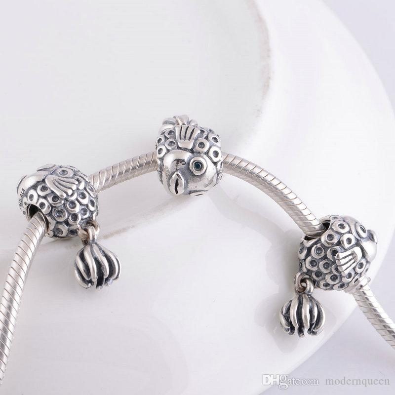 Fish charms beads S925 sterling silver fits for pandora style bracelets ale181H9