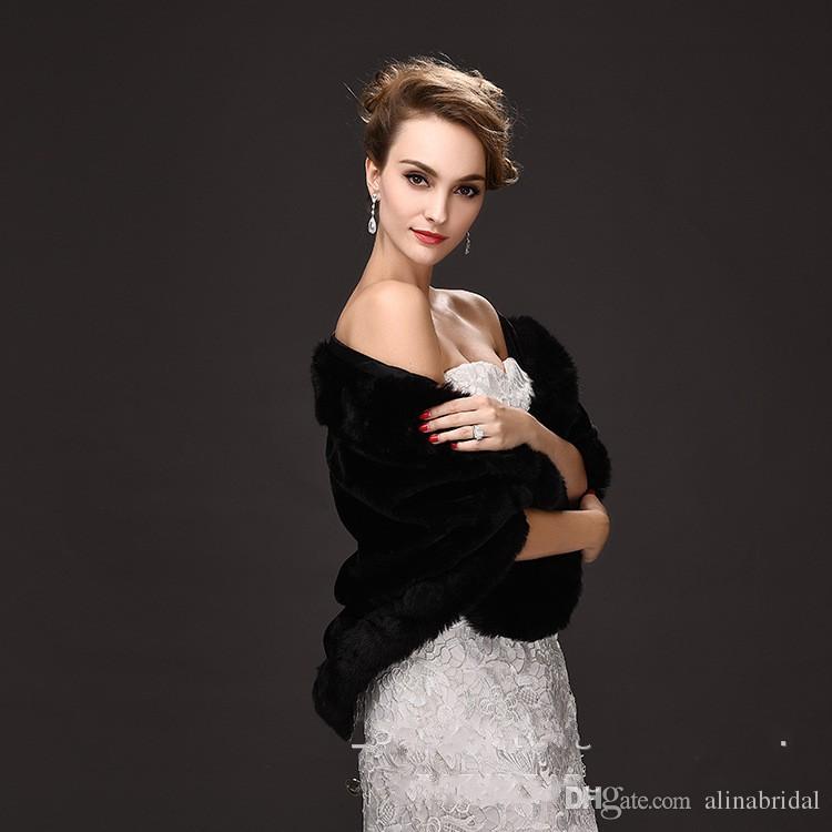 2016 hiver mariée fourrure Wraps 55 cm * 150 femmes en ivoire chaude laine châle rouge / noir Lady Wraps pour accessoire de mariée Occation spéciale