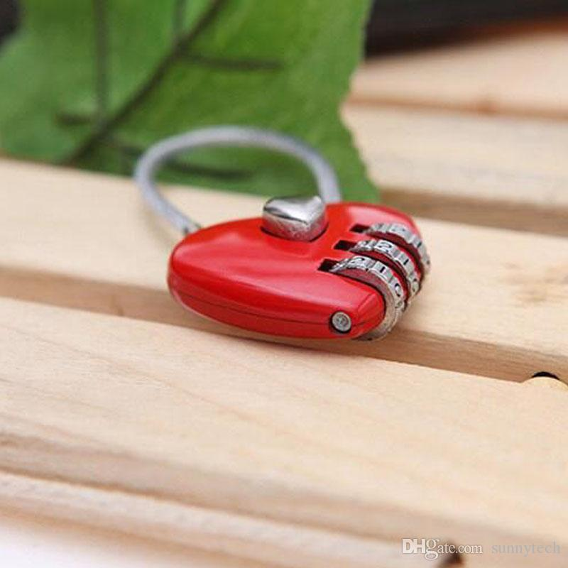 Mini Bonito Corda De Fio Forma Do Coração 3 Dígitos Bloqueio Bagagem Mala de Viagem Senha Codificado Cadeado Acessórios de Viagem ZA1351