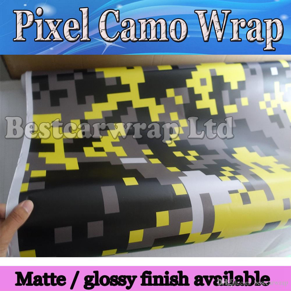 bright yellow digital tiger camo vinyl car wrap styling with air bubble free pixel camouflage. Black Bedroom Furniture Sets. Home Design Ideas