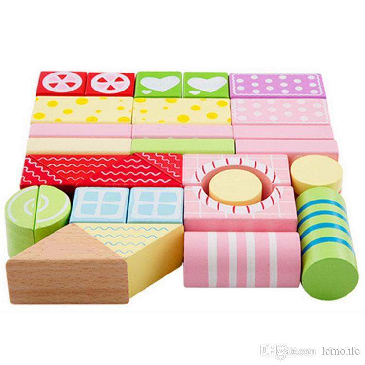 / set 나무 빌딩 블록 벽돌 다채로운 도시 교육 Montessori Toys