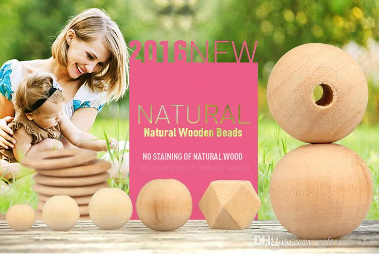 Natural Wood Color Round Wooden Beads 20mm 15mm 12mm 10mm High Quality Lead-free Wooden Beads DIY Jewelry Accessories Wholesale