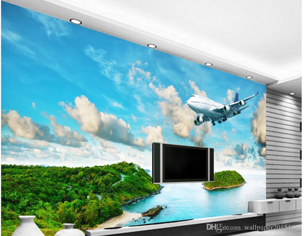 3d обои для комнаты Приморский остров тропический лес самолет ТВ стены классические обои для стен