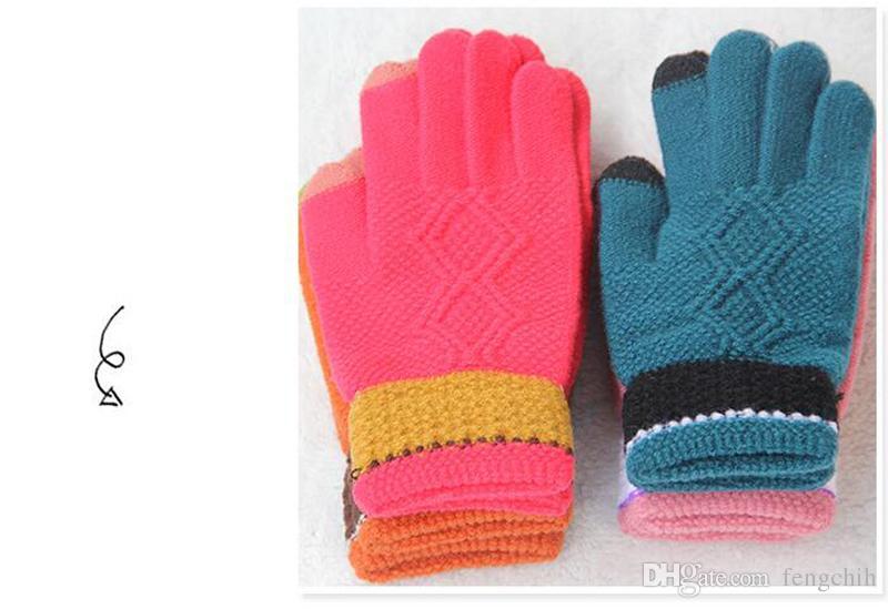 2017 новый анти-ручка жаккардовые перчатки сенсорный экран пять пальцев дамы зимой трикотажные теплые перчатки производители Оптовая