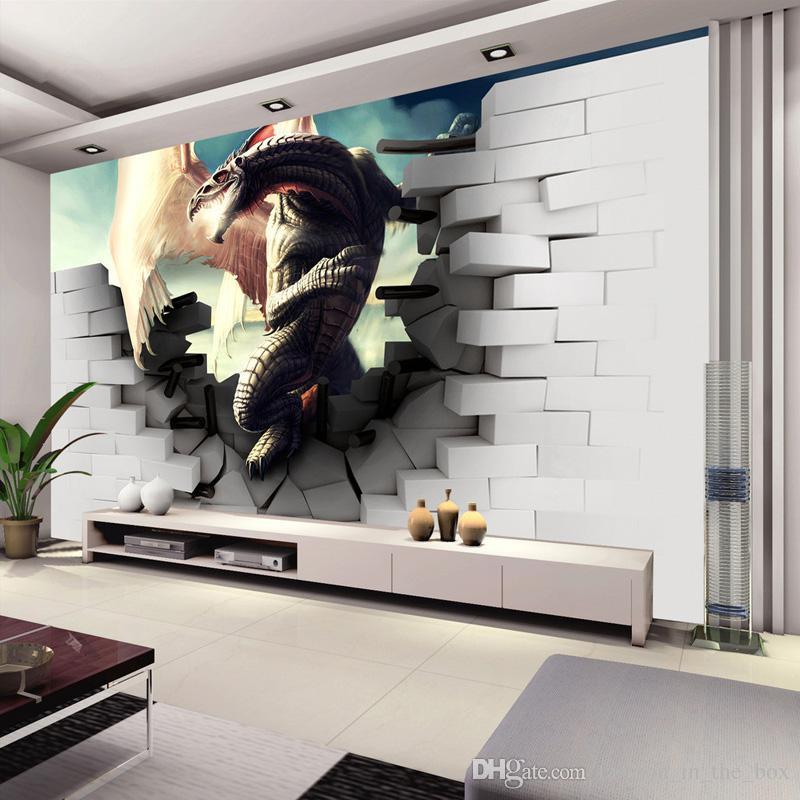 45 Amazing Decorating Ideas To Create A Stylish Nursery: Personalized Custom 3D Dinosaur Wallpaper Art Wall Mural