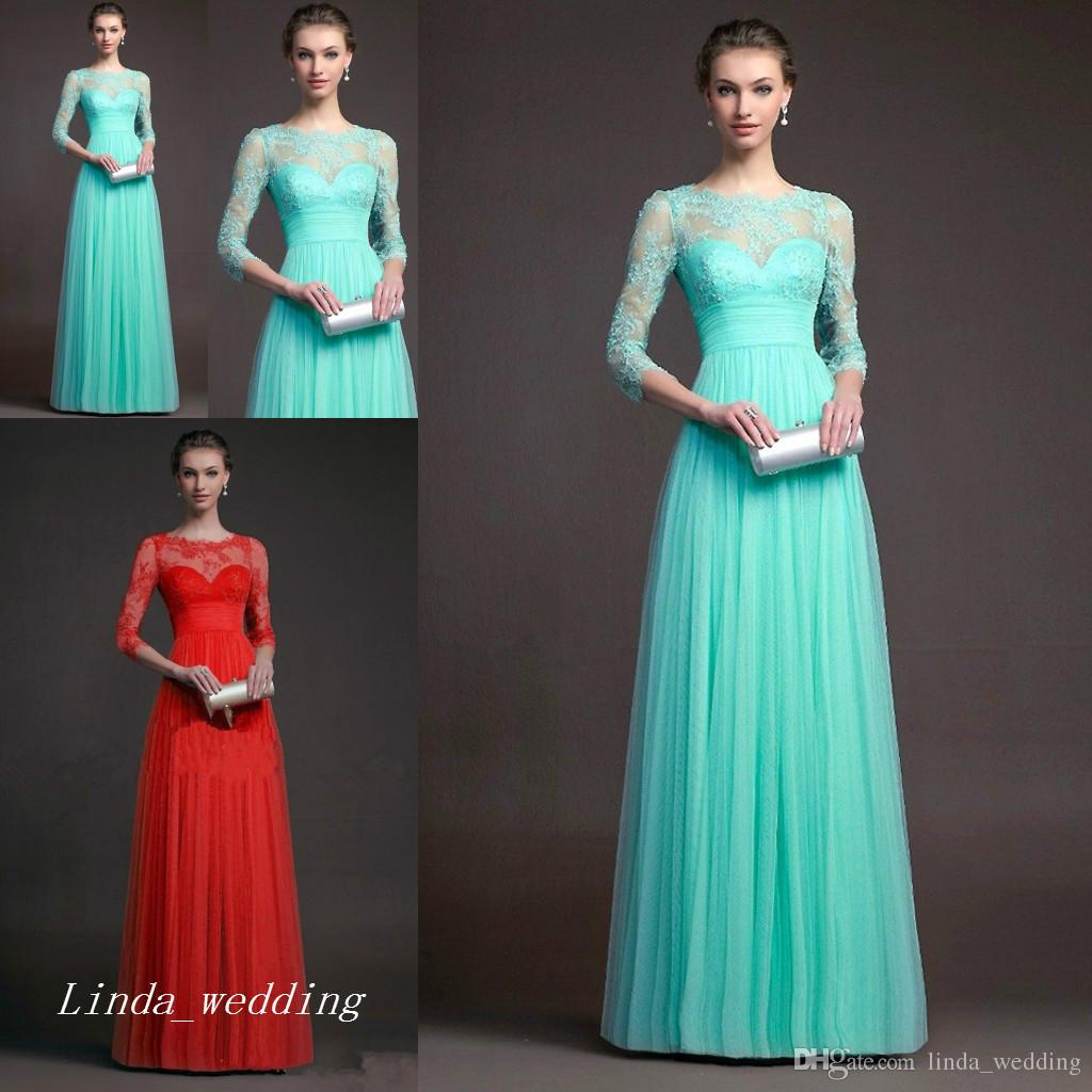 Mint Green Red Evening Dress A Line Sheer Top Neck Tulle Lace Long ...