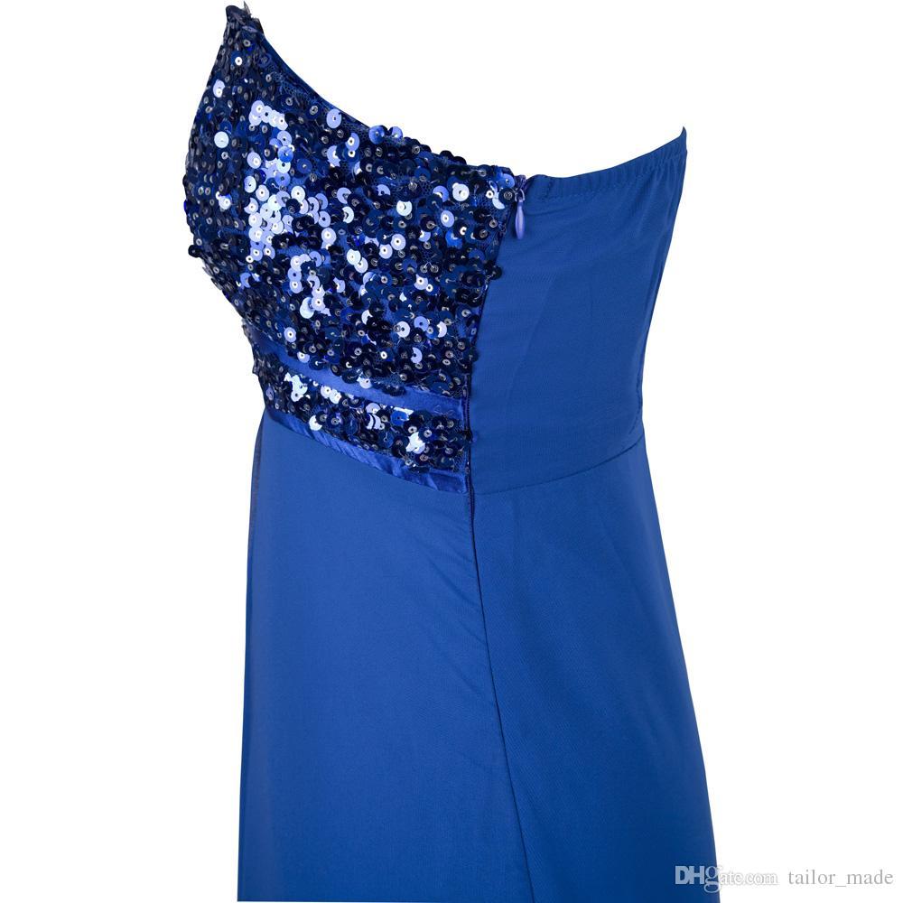 One Shoulder Elegant Vestido De Festa Chiffon A Line High Quality Evening Dresses Sequined Celebrity Prom Dresses Vestido Longo