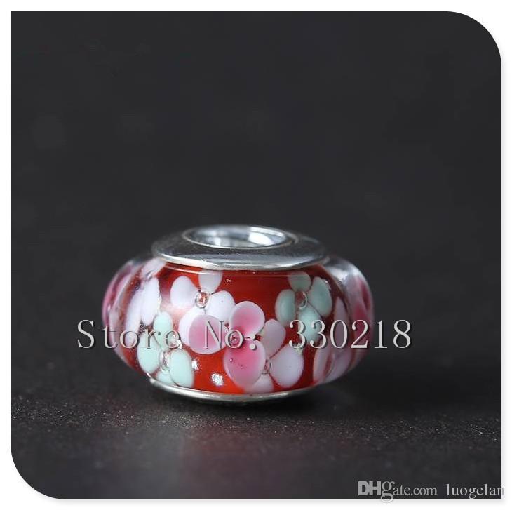 Serve para pandora pulseiras de jardim de flores de prata contas de murano 2016 estilo verão 100% 925 encantos de prata esterlina diy mulheres de jóias por atacado