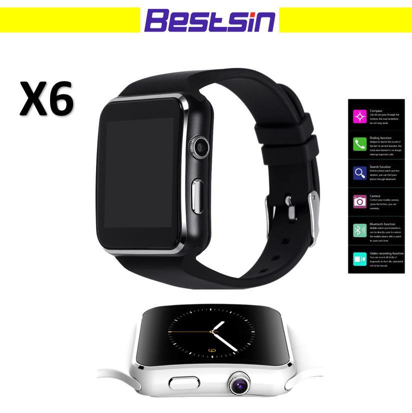b4228830a Smartwatch 2 Nuevo Reloj Bluetooth Smart Watch X6 SmartWatch Para Apple  IPhone Android Phone Con Cámara FM Soporte De Tarjeta SIM Smartwatches Por  ...