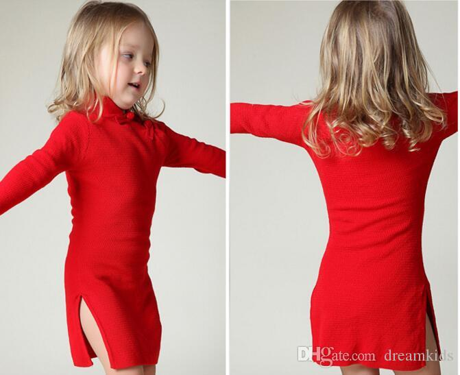 INS ragazze inverno maglione abiti Toddler Baby Girls primavera Qipao cinese Knit Year Dress più spessa Red Pink Cheongsam Sweater Dress