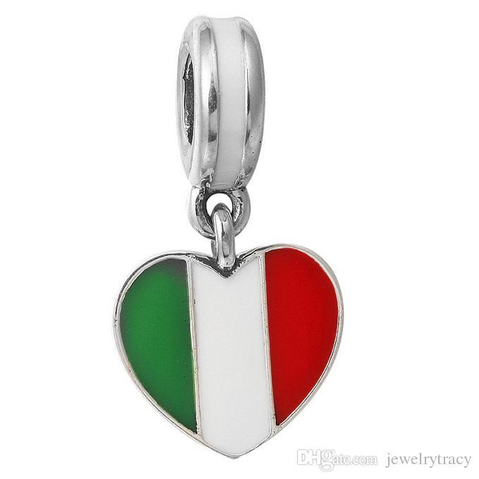 Pingente de bandeira italiana gotejamento coração símbolo brincos de prata azul esmalte vermelho e branco liga as mulheres contas atacado