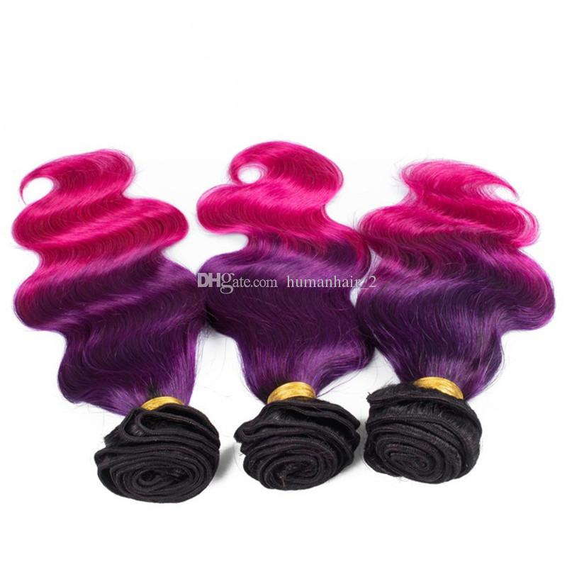 Cheap ombre hair extension with lace frontal Brazilian ombre hair weave 1b purple pink three tone color human hair wefts with frontal