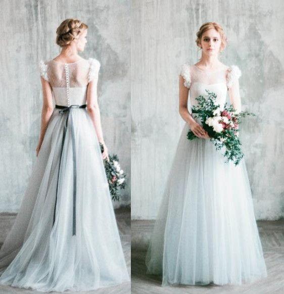 Discount Cheap 2018 Berta Romantic Grey Beach Vintage Wedding ...