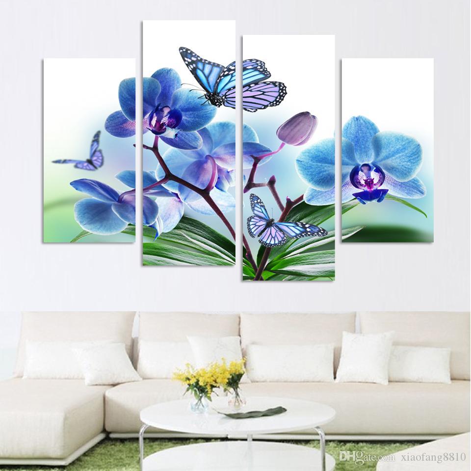 4 패널 아름 다운 나비 난초 꽃 캔버스 거실 홈 장식 벽 예술 유화에 대 한 프레임 인쇄