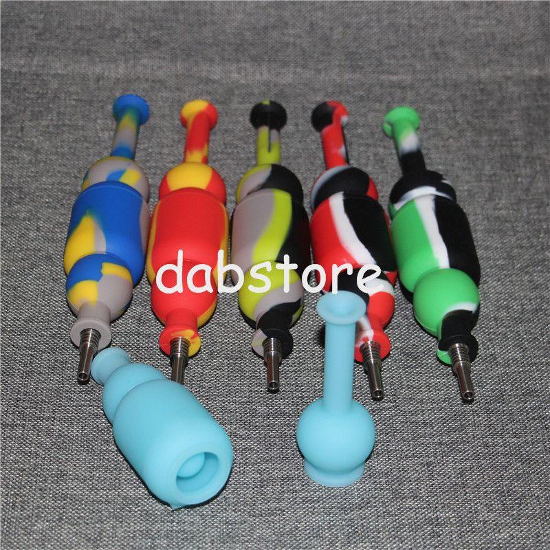 Atacado 10mm Mini Silicone Nectar colecionadores kits com filtro sem dom ti prego nector coletor de petróleo plataformas de vidro bongos de silicone bongo DHL