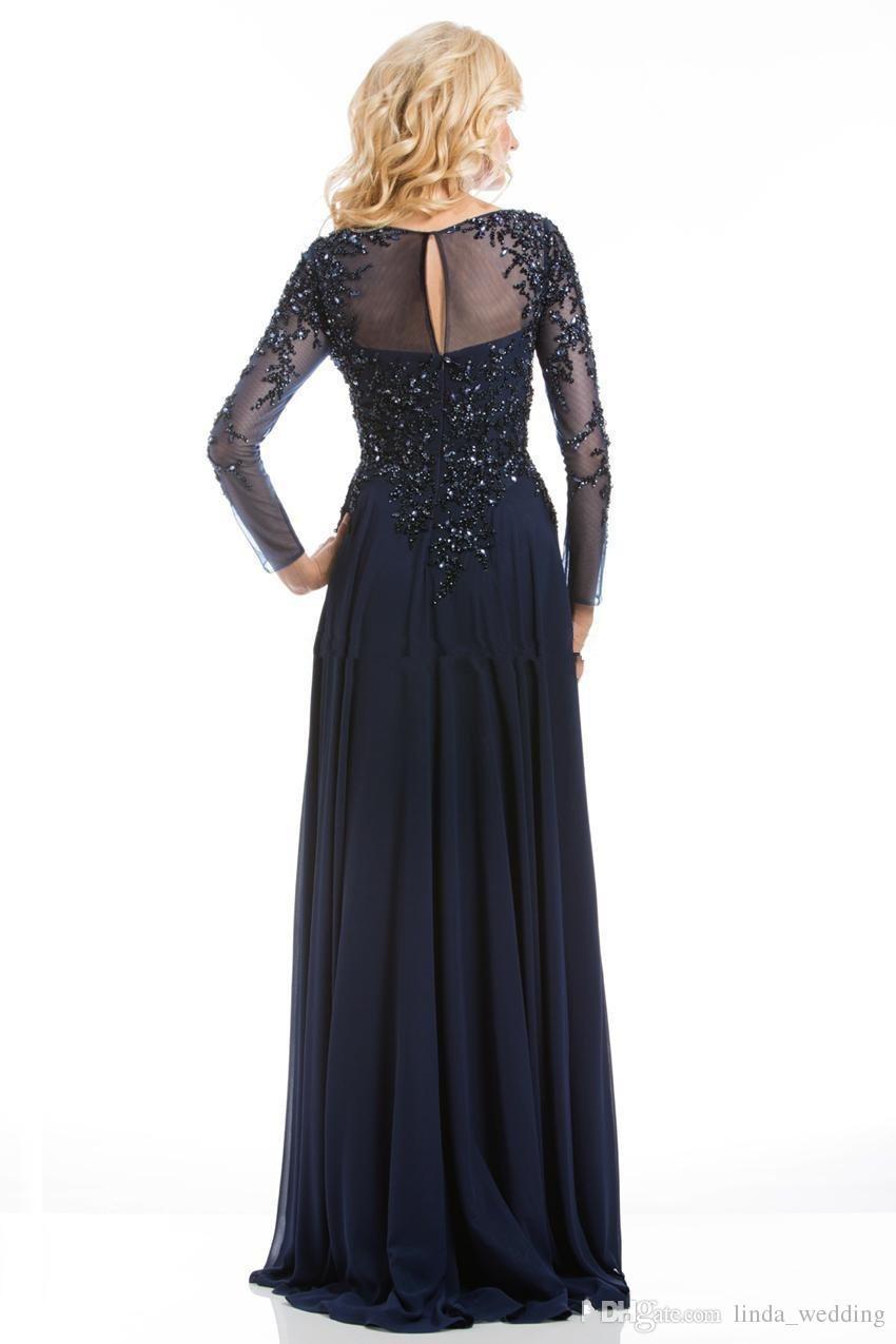 طويلة الأكمام مساء اللباس جودة عالية الأزرق الداكن زين الشيفون النساء ارتداء حفلة موسيقية اللباس الحدث الرسمي ثوب الأم من فستان العروس