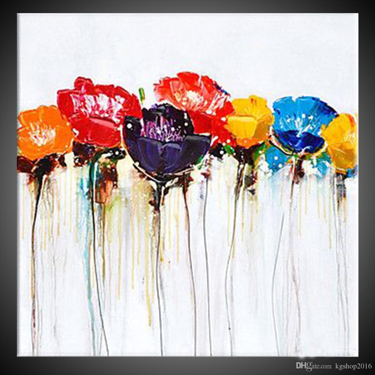 Acheter Kgtech Moderne Nature Fleur De Coquelicot Peinture à La Main
