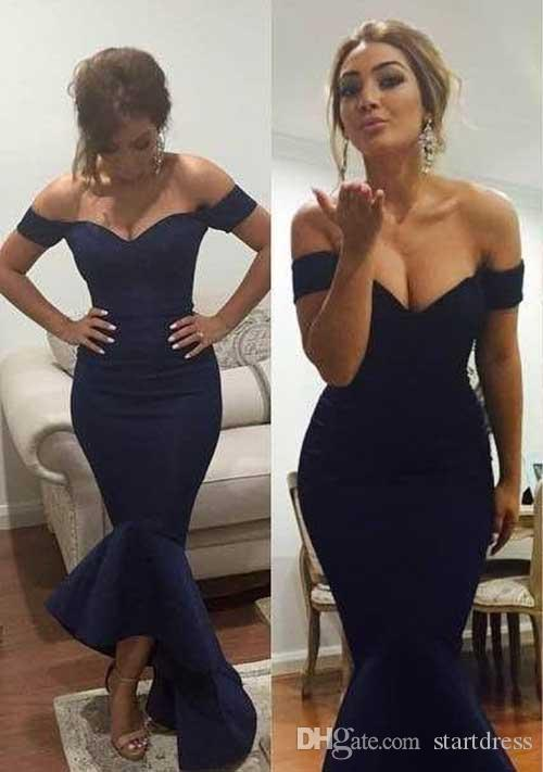 Cheap Navy Blue Mermaid Evening Dresses Sexy Off The Shoulder Ankle Length Evening Gown Formal Dresses Evening Wear Runway Fashion Prom Gown