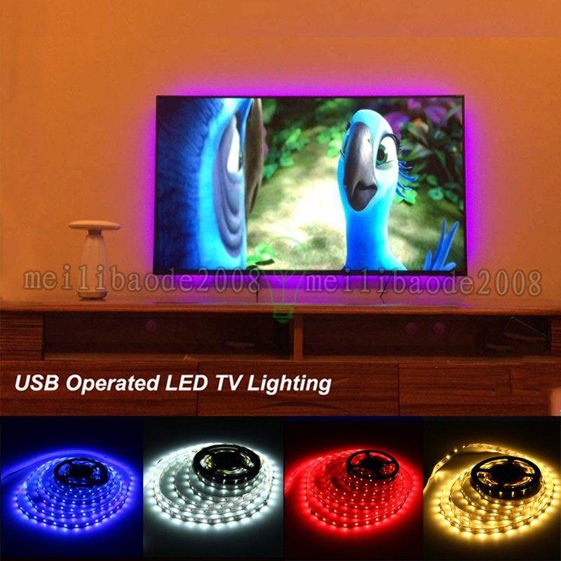 5V USB-LED-Streifen 1M SMD3528 RGB SMD5050 Flexible LED-Klebebeleuchtung für TV-Car-Computerzelt-Beleuchtung Freies Verschiffen MYY