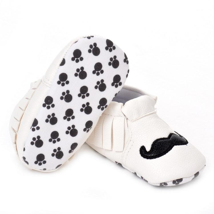 2016 New Mustache Baby Shoes Girls Toddler Design PU Leather Soft Sole Tassel First Walker Lovely Classic White Black Spring Autumn Boots