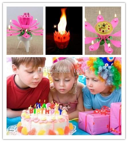 Birthday Party Music Flower Candle New Lotus Music Candles Happy