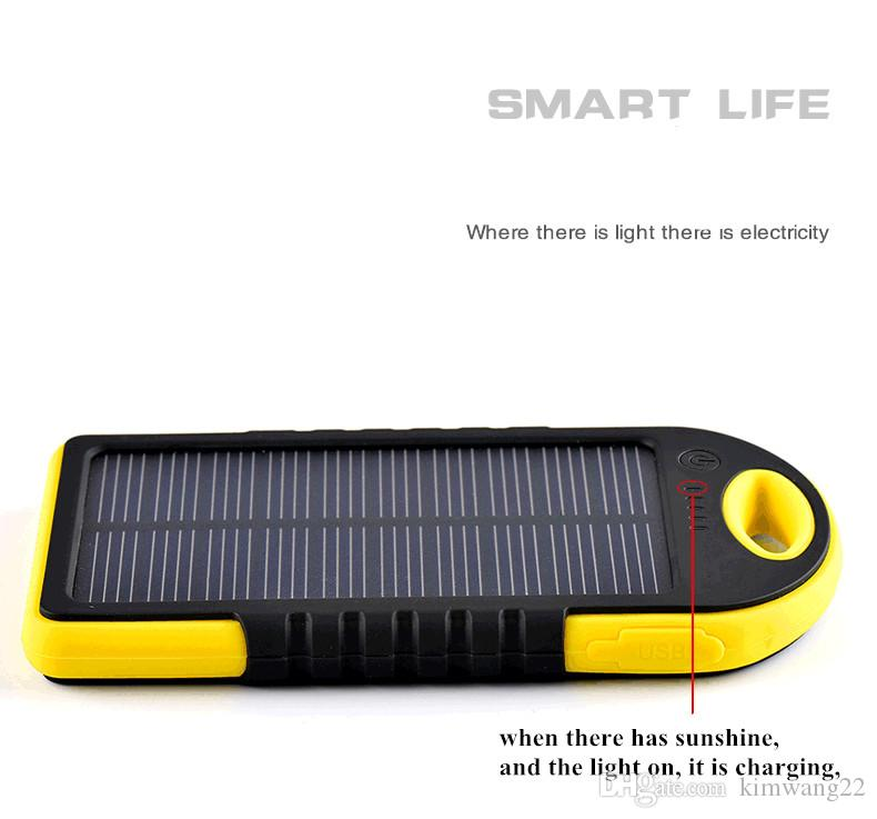 5000mAh شاحن للطاقة الشمسية والبطارية لوحة للطاقة الشمسية المحمولة للهاتف المحمول كاميرا MP4 مع مصباح يدوي مقاوم للماء للصدمات