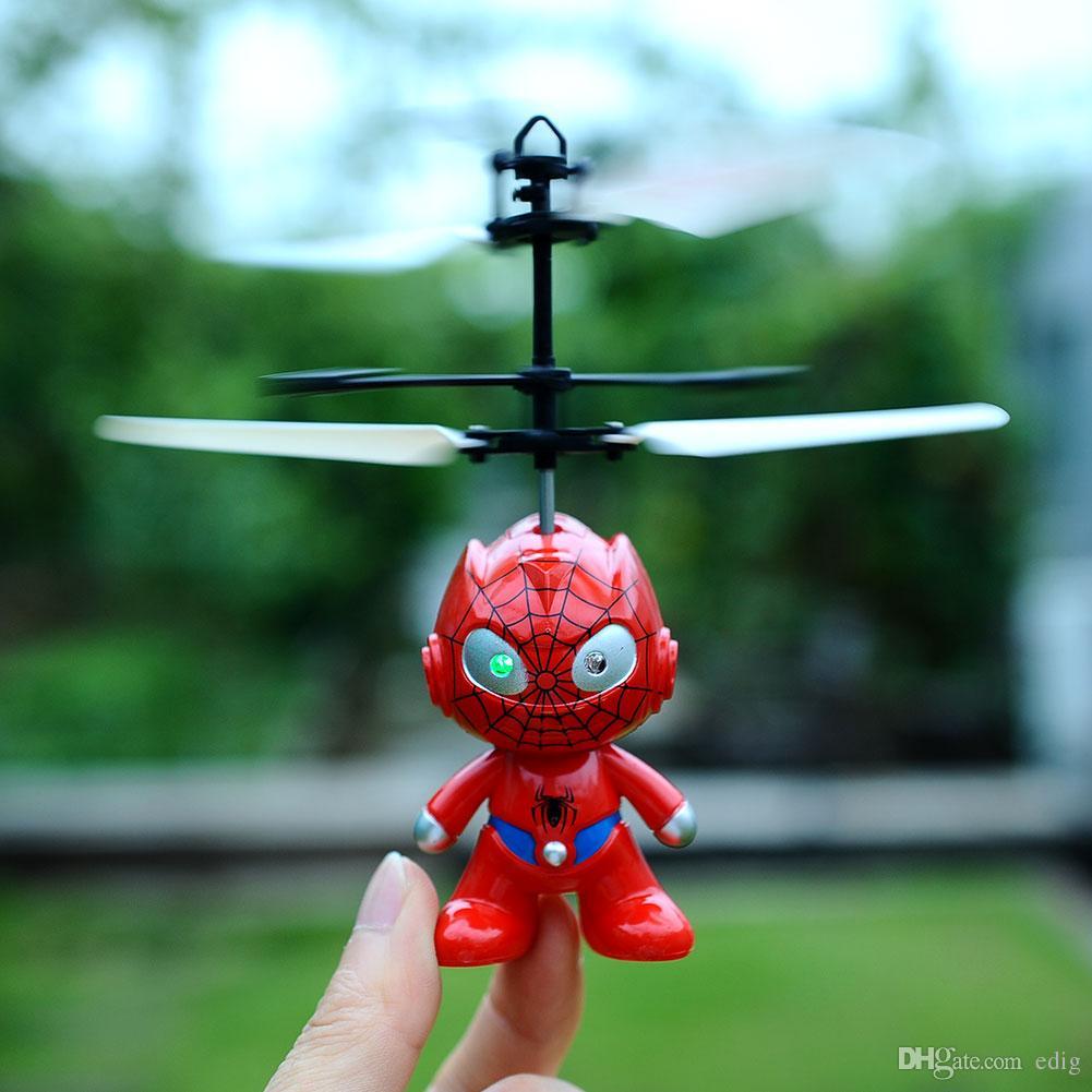 작은 미니 RC 스파이더 맨 항공기 비행 유도 헬기 아이 장난감 충전 선물