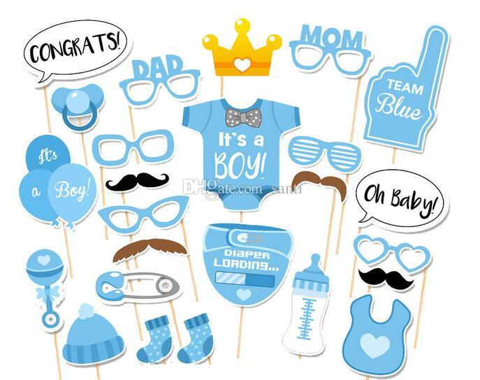 Hot Photo Booth Props Photography mask paper Card boy girl For First 1 Birthday baby shower