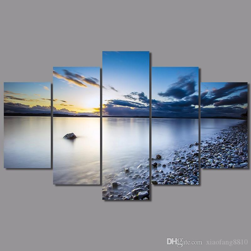 Big size sea lake sun decoration stones wall art pictures landscape dark blue sky Canvas Painting living room unframed