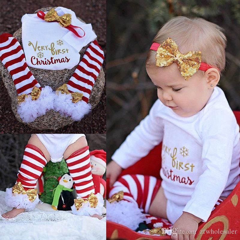 아기 크리스마스 잠옷 크리스마스 Romper 유아 복장 아동 부티크 의류 아동 의류 세트 Onesies + Headband + 유아기의 새끼를 낳기