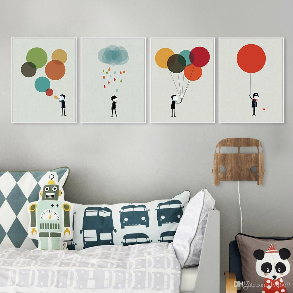 Modern Minimalist Boy Gentleman Colorful Balloon A4 Big Art Print Poster Wall Picture Canvas Painting No Frame Bedroom Home Deco