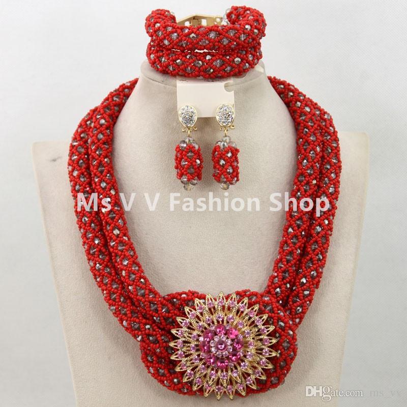 set di gioielli di perle africane orecchini di corallo fatti a mano in oro rosso con corallo in cristallo orecchini set adatti abiti da sposa in pizzo francese e asi e nigeriani