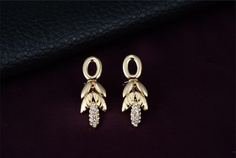 conjunto de joyas 2016 Nueva Moda Rhinestone Party Jewelry Mujeres 18 K chapado en oro Hojas Wedding Jewelry Sets 4 piezas Set Wholesale JS079