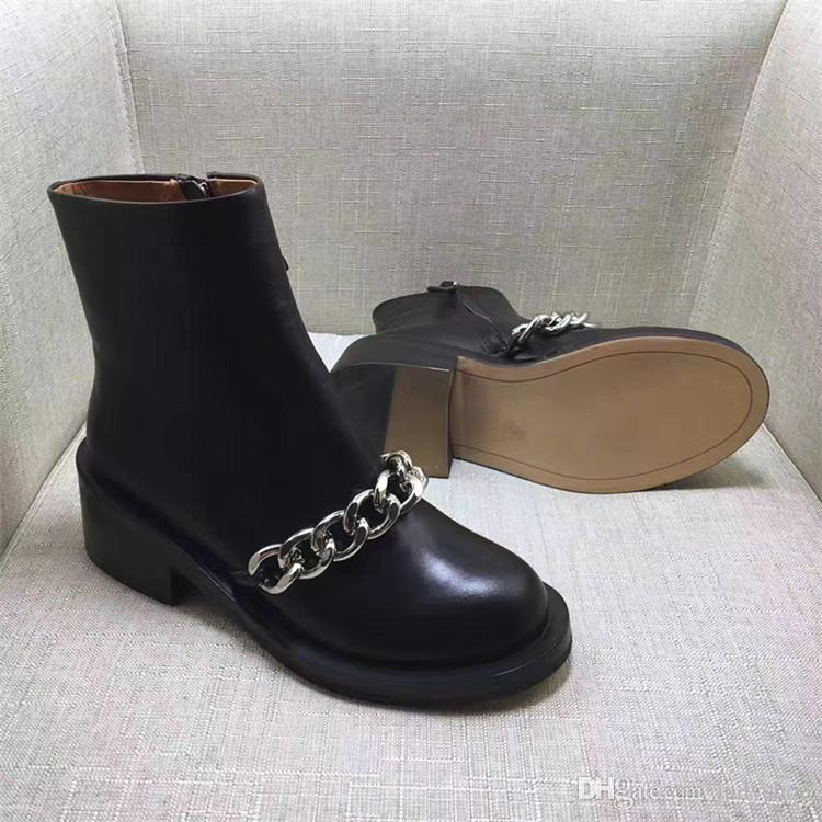 2018 Best selling women boots fashion Metal chain low heels high quality leather ankle boots zipper bling Short Booties shoes