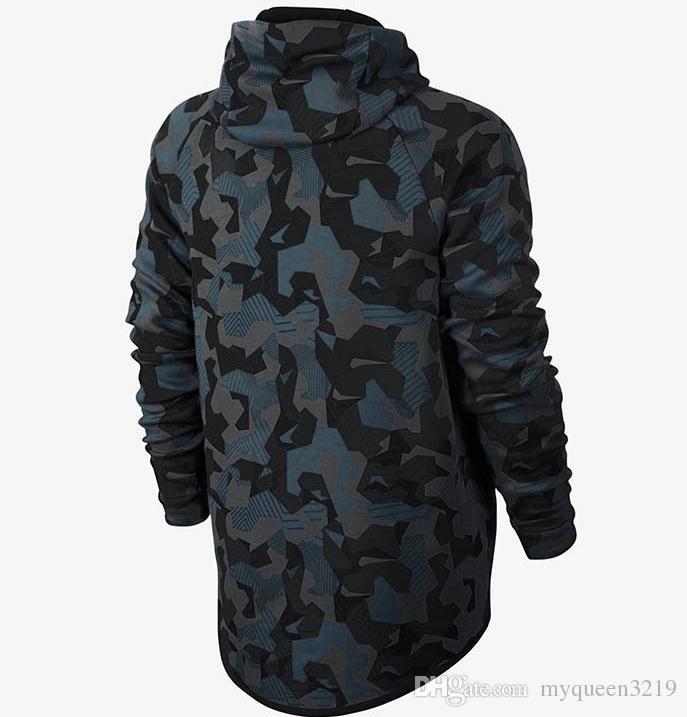 Азии размер NKIAD плюс бархат утолщение повседневная куртка, WINDRUNNER Tech сфера полный Zip флис камуфляж толстовки кофты